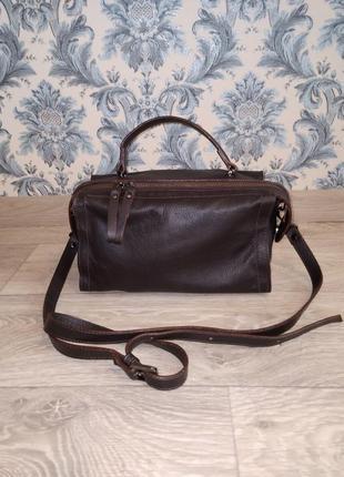 Кожаная сумка боченок,италия