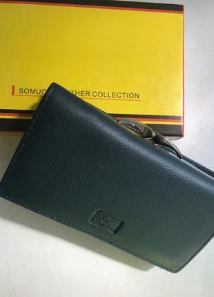Кожаный кошелек-портмоне. синий и черный.