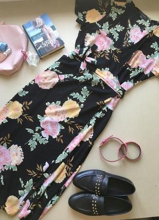 😍😍😍ніжне легке шифонове плаття в квіти на запах primark xl