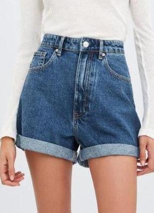 Крутые джинсовые высокие шорты бермуды mom