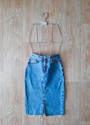 Юбка джинсовая миди высокая посадка