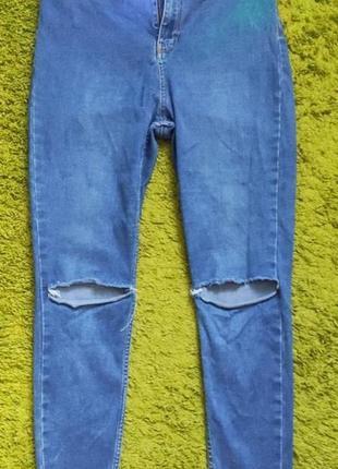Крутые скинни с дырками на коленях, 14 размер