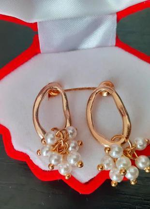 Серьги сережки с жемчужинами под золото новые