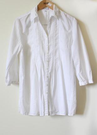Белая нарядная рубашка-блуза из натурального хлопка erfo (размер 42-44)