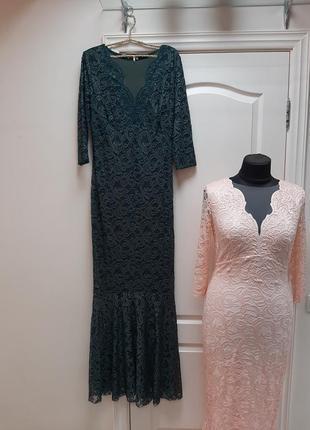 Шикарное вечернее длинное кружевное платье