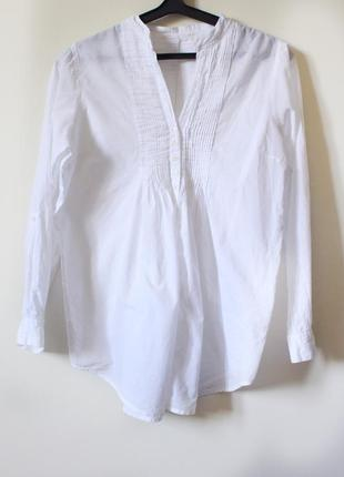 Белая блузка-рубашка свободного кроя из натурального хлопка (размер 42-44)