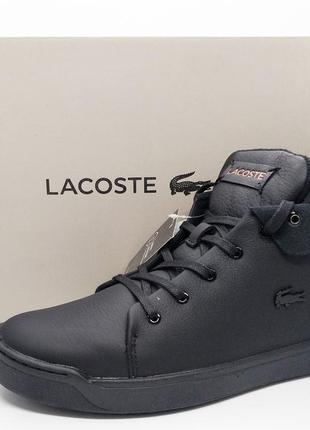 Кожаные хайтопы стильные черные ботинки кеды lacoste оригинал
