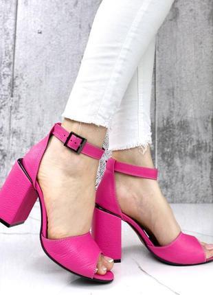 Натуральная кожа, женские розовые босоножки kristi