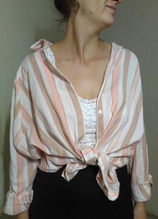 Рубашка блузка блуза оверсайз прямая свободная легкая воздушная пляж пляжная белая полоска