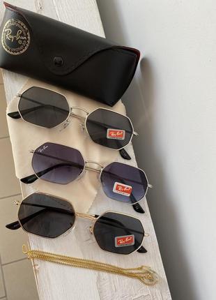 Трендові сонцезахисні жіночі окуляри  octagonal сіро-синіі в срібній оправі2 фото