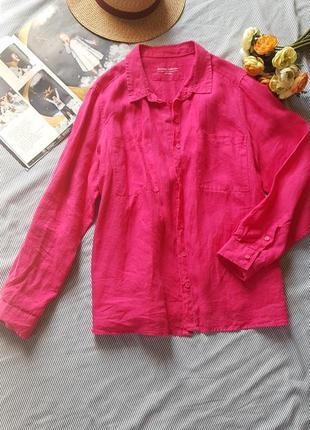 Рубашка блуза удлиненная туника лен 100 оверсайз