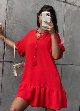 Платье женское летнее свободное оверсайз легкое льняное короткое красное