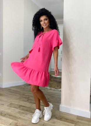 Платье женское летнее свободное оверсайз легкое льняное короткое розовое