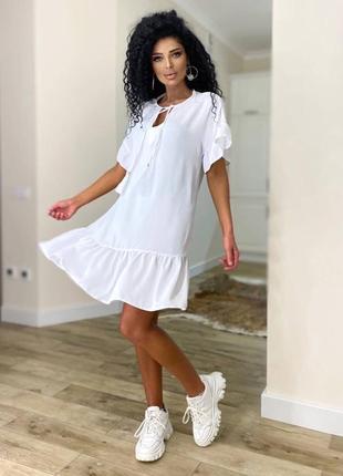 Платье женское летнее свободное оверсайз легкое льняное короткое белое