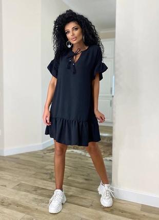Платье женское летнее свободное оверсайз легкое льняное короткое черное