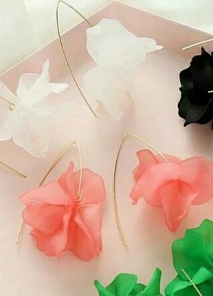 Серьги сережки  цветы белый розовый