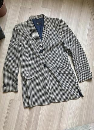 Шерстяной роскошный пиджак akris брендовый casual в клетку клетчатый