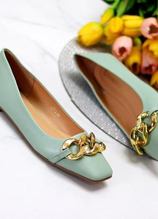 Туфли балетки оливкового мятного цвета