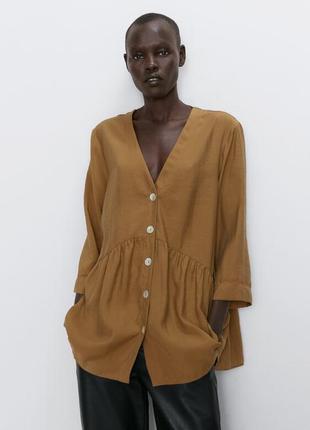 Блуза оверсайс из лиоцела  zara