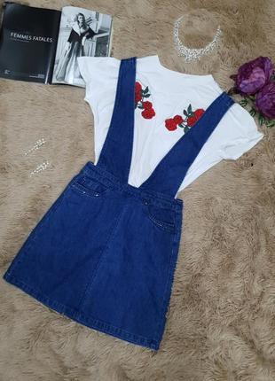 Стильный джинсовый комбинезон юбка юбочный высокая талия камни swarovski бренд only