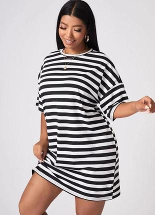 Женское платье футболка в полоску
