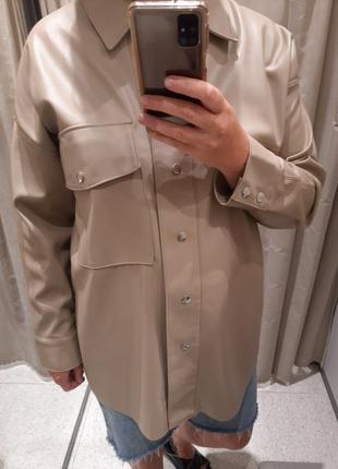 Новая верхняя рубашка куртка кожа zara