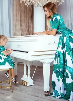 Роскошное платье, family look фемели лук - платье для мамы и дочки, длинное платье в пол, зеленый