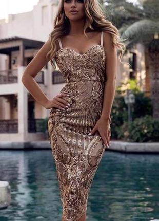 Шикарное блестящее платье футляр расшитое пайетками