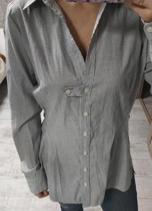 Стильная базовая рубашка в мелкую полоску 53% хлопок