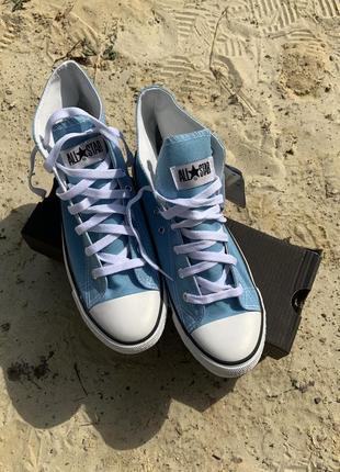 Голубые кеды  converse, мужские и женские
