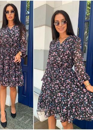 Платье короткое летнее шифоновое нарядное цветочное батал черное легкое