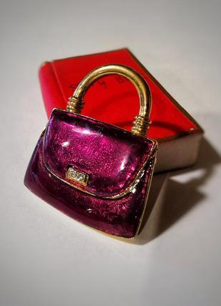 Винтажная позолоченная брошь сумка сумочка с камнями стразы кристаллы эмаль эмалевая colour mates