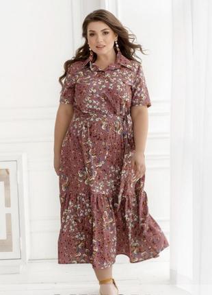 Яркое платье батал в нежный цветочный принт 🌼