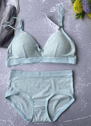 Нежно-голубой повседневный универсальный женский комплект нижнего белья