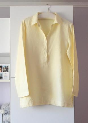 Нежно желтая льняная рубашка от marks&spencer, 100% лен