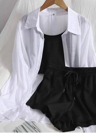 Отличный костюм тройка шорты, топ и рубашка белая
