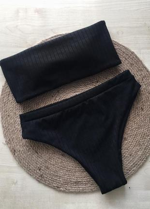 !распродажа!новый чёрный купальник в рубчик , плавки и бандо, чашки