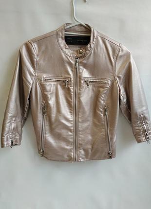 Куртка aftf basic пудра с эко - кожи xs,s