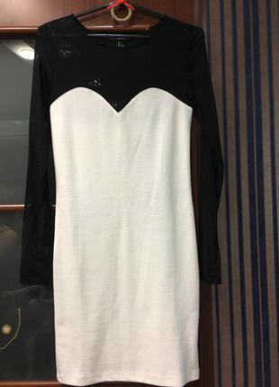 Платье новое трикотаж сетка белое черное туника