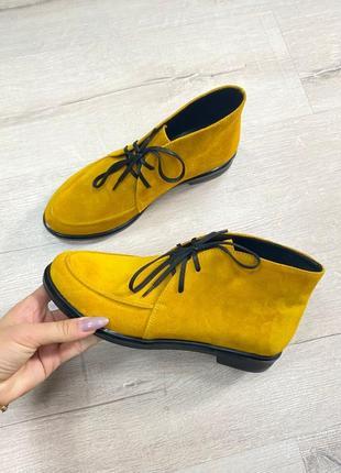 Эксклюзивные высокие лоферы ботинки натуральная итальянская кожа и замша люкс