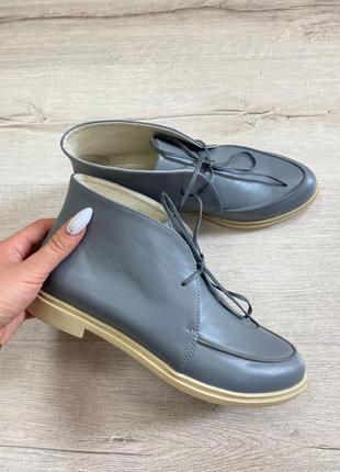 Эксклюзивные высокие лоферы ботинки натуральная итальянская кожа и замша люкс качества серые графит