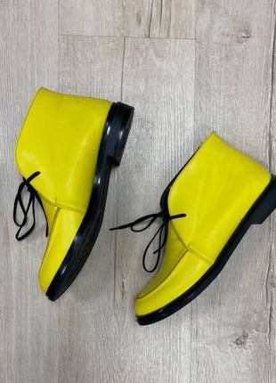 Эксклюзивные высокие лоферы ботинки натуральная итальянская кожа и замша люкс жёлтые