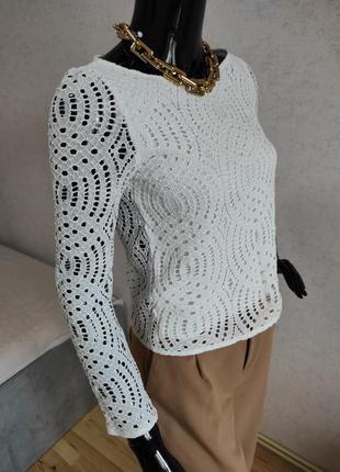 Кружевная белая блуза