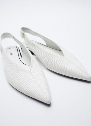 Туфли-мюли белые zara