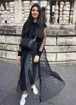 Платье накидка сетка в горох платье рубашка на пуговицах  zara