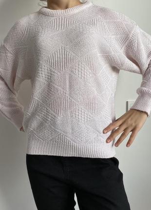 Светлый свитшот, кофта вязаная, свитер стильный удобный оверсайз.