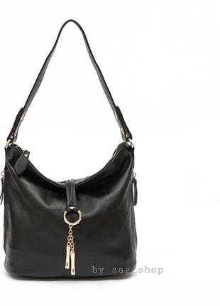 Практичная кожаная сумка женская на плечо чёрная красная с короткой длинной ручкой жіночі сумки натуральна шкіра