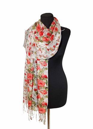 Летний весенний льняной тонкий шарф палантин лен на жару белый в красные цветы новый качественный