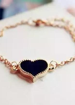 Браслет золотистый с сердцем браслетик цепочка сердце подвеска ланцюжок на руку
