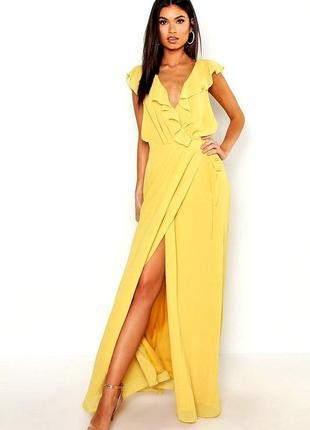 🔥вечернее желтое длинное платье макси на запах boohoo boutique